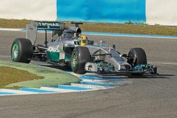 World © Octane Photographic Ltd. 2014 Formula 1 Winter Testing, Circuito de Velocidad, Jerez. Tuesday 28th January 2014. Day 1. Mercedes AMG Petronas F1 W05 – Lewis Hamilton. Digital Ref: 0882cb1d9500