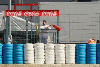 World © Octane Photographic Ltd. 2014 Formula 1 Winter Testing, Circuito de Velocidad, Jerez. Tuesday 28th January 2014. Day 1. Red flag caused by Lewis Hamilton's crash. Digital Ref: 0882cb1d9517