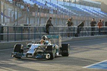 World © Octane Photographic Ltd. 2014 Formula 1 Winter Testing, Circuito de Velocidad, Jerez. Tuesday 28th January 2014. Day 1. Mercedes AMG Petronas F1 W05 – Lewis Hamilton. Digital Ref: 0882lb1d0056