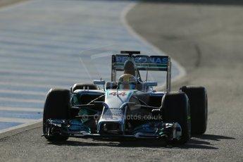 World © Octane Photographic Ltd. 2014 Formula 1 Winter Testing, Circuito de Velocidad, Jerez. Tuesday 28th January 2014. Day 1. Mercedes AMG Petronas F1 W05 – Lewis Hamilton. Digital Ref: 0882lb1d0073