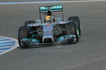 World © Octane Photographic Ltd. 2014 Formula 1 Winter Testing, Circuito de Velocidad, Jerez. Tuesday 28th January 2014. Day 1. Mercedes AMG Petronas F1 W05 – Lewis Hamilton. Digital Ref: 0882lb1d0127