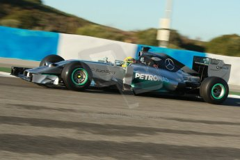 World © Octane Photographic Ltd. 2014 Formula 1 Winter Testing, Circuito de Velocidad, Jerez. Thursday 30th January 2014. Day 3. Mercedes AMG Petronas F1 W05 – Lewis Hamilton. Digital Ref: 0887cb1d0531