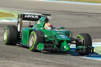 World © Octane Photographic Ltd. 2014 Formula 1 Winter Testing, Circuito de Velocidad, Jerez. Thursday 30th January 2014. Day 3. Caterham F1 Team CT05 – Robin Frijns. Digital Ref: 0887cb1d0690