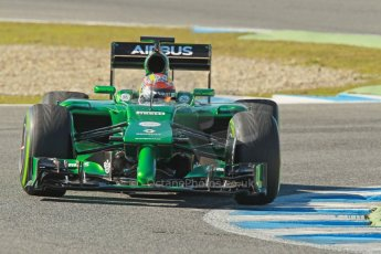 World © Octane Photographic Ltd. 2014 Formula 1 Winter Testing, Circuito de Velocidad, Jerez. Thursday 30th January 2014. Day 3. Caterham F1 Team CT05 – Robin Frijns. Digital Ref: 0887cb1d0932