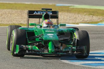 World © Octane Photographic Ltd. 2014 Formula 1 Winter Testing, Circuito de Velocidad, Jerez. Thursday 30th January 2014. Day 3. Caterham F1 Team CT05 – Robin Frijns. Digital Ref: 0887cb1d0933