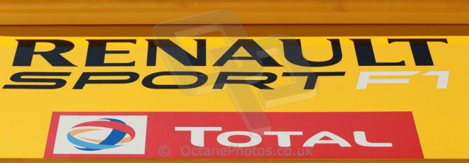 World © Octane Photographic Ltd. 2014 Formula 1 Winter Testing, Circuito de Velocidad, Jerez. Thursday 30th January 2014. Day 3. Renault Sport F1 Logo. Digital Ref: 0887cb1d1233