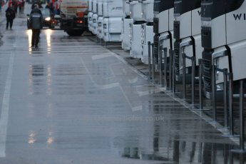World © Octane Photographic Ltd. 2014 Formula 1 Winter Testing, Circuito de Velocidad, Jerez. Friday 31st January 2014. Day 4. Williams and Sauber trucks in the wet paddock. Digital Ref: 0888cb1d1252