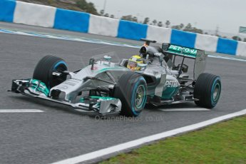World © Octane Photographic Ltd. 2014 Formula 1 Winter Testing, Circuito de Velocidad, Jerez. Friday 31st January 2014. Day 4. Mercedes AMG Petronas F1 W05 - Nico Rosberg briefly trying out his older yellow helmet. Digital Ref: 0888cb1d1310