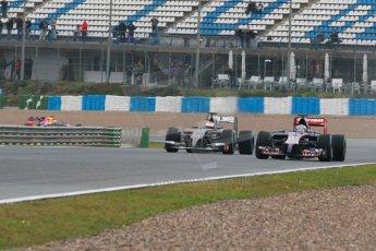 World © Octane Photographic Ltd. 2014 Formula 1 Winter Testing, Circuito de Velocidad, Jerez. Friday 31st January 2014. Day 4. Scuderia Toro Rosso STR 9 – Daniil Kvyat, Sauber C33 Ferrari – Adrian Sutil and Infiniti Red Bull Racing RB10 – Daniel Ricciardo. Digital Ref: 0888cb1d1362