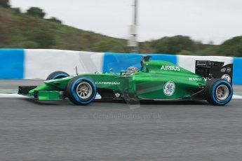 World © Octane Photographic Ltd. 2014 Formula 1 Winter Testing, Circuito de Velocidad, Jerez. Friday 31st January 2014. Day 4. Caterham F1 Team CT05 – Kamui Kobayashi. Digital Ref: 0888cb1d1398