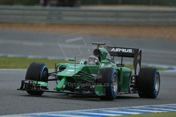 World © Octane Photographic Ltd. 2014 Formula 1 Winter Testing, Circuito de Velocidad, Jerez. Friday 31st January 2014. Day 4. Caterham F1 Team CT05 – Kamui Kobayashi. Digital Ref: 0888lb1d3321