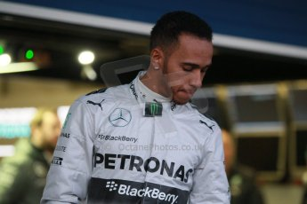 World © Octane Photographic Ltd. 2014 Formula 1 Winter Testing, Circuito de Velocidad, Jerez. Tuesday 27th January 2014. Mercedes AMG Petronas F1 W05 launch – Lewis Hamilton. Digital Ref: 0884cb1d9123