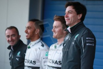 World © Octane Photographic Ltd. 2014 Formula 1 Winter Testing, Circuito de Velocidad, Jerez. Tuesday 27th January 2014. Mercedes AMG Petronas F1 W05 launch – Toto Wolff, Lewis Hamilton, and Nico Rosberg. Digital Ref: 0884cb1d9191