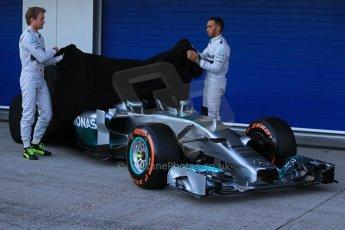 World © Octane Photographic Ltd. 2014 Formula 1 Winter Testing, Circuito de Velocidad, Jerez. Tuesday 27th January 2014. Mercedes AMG Petronas F1 W05 launch – Nico Rosberg and Lewis Hamilton. Digital Ref: 0884lb1d9651