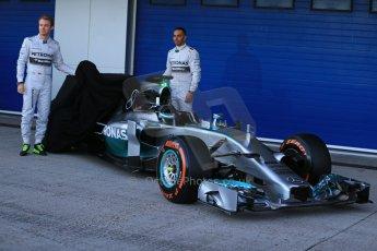 World © Octane Photographic Ltd. 2014 Formula 1 Winter Testing, Circuito de Velocidad, Jerez. Tuesday 27th January 2014. Mercedes AMG Petronas F1 W05 launch – Nico Rosberg and Lewis Hamilton. Digital Ref: 0884lb1d9660