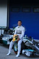 World © Octane Photographic Ltd. 2014 Formula 1 Winter Testing, Circuito de Velocidad, Jerez. Tuesday 27th January 2014. Mercedes AMG Petronas F1 W05 launch – Lewis Hamilton. Digital Ref: 0884lb1d9692
