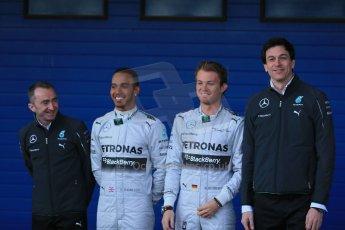 World © Octane Photographic Ltd. 2014 Formula 1 Winter Testing, Circuito de Velocidad, Jerez. Tuesday 27th January 2014. Mercedes AMG Petronas F1 W05 launch – Toto Wolf, Nico Rosberg and Lewis Hamilton. Digital Ref: 0884lb1d9705