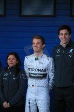 World © Octane Photographic Ltd. 2014 Formula 1 Winter Testing, Circuito de Velocidad, Jerez. Tuesday 27th January 2014. Mercedes AMG Petronas F1 W05 launch – Toto Wolf and Nico Rosberg. Digital Ref: 0884lb1d9725