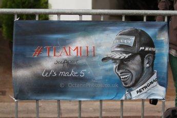 World © Octane Photographic Ltd. Thursday May 22nd 2014. Formula 1 Practice 1. Monaco – Monte Carlo. TeamLH supporters flag - Lewis Hamilton. Digital Ref : 0958CB7D1942