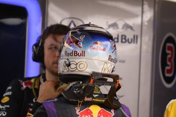World © Octane Photographic Ltd. Thursday 22nd May 2014. Monaco - Monte Carlo - Formula 1 Practice 1. Infiniti Red Bull Racing RB10 – Daniel Ricciardo in his Monaco special helmet. Digital Ref: 0958CB7D2005