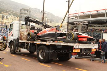 World © Octane Photographic Ltd. Thursday 22nd May 2014. Monaco - Monte Carlo - Formula 1 Practice 1. Marussia F1 Team MR03 - Max Chilton's car is returned to the pits. Digital Ref: 0958CB7D5020