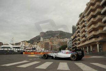 World © Octane Photographic Ltd. Thursday 22nd May 2014. Monaco - Monte Carlo - Formula 1 Practice 1. Williams Martini Racing FW36 – Valtteri Bottas Digital Ref: 0958LB1D6265