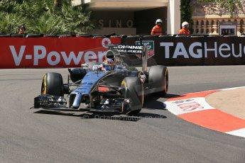 World © Octane Photographic Ltd. Saturday 24th May 2014. Monaco - Monte Carlo - Formula 1 Practice 3. McLaren Mercedes MP4/29 - Jenson Button. Digital Ref: 0965LB1D7205