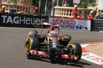 World © Octane Photographic Ltd. Saturday 24th May 2014. Monaco - Monte Carlo - Formula 1 Practice 3. Lotus F1 Team E22 - Romain Grosjean. Digital Ref: 0965LB1D7337