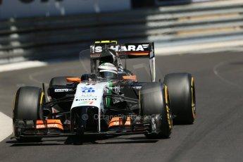 World © Octane Photographic Ltd. Saturday 24th May 2014. Monaco - Monte Carlo - Formula 1 Practice 3. Sahara Force India VJM07 – Sergio Perez. Digital Ref: 0965LB1D7525