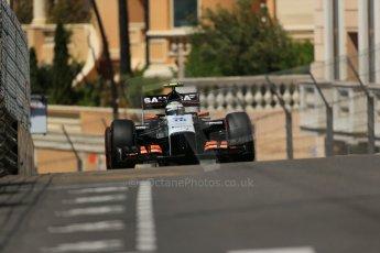 World © Octane Photographic Ltd. Saturday 24th May 2014. Monaco - Monte Carlo - Formula 1 Practice 3. Sahara Force India VJM07 – Sergio Perez. Digital Ref: 0965LB1D7785