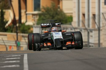 World © Octane Photographic Ltd. Saturday 24th May 2014. Monaco - Monte Carlo - Formula 1 Practice 3. Sahara Force India VJM07 – Nico Hulkenburg. Digital Ref : 0965LB1D7803