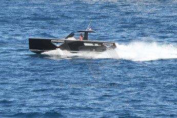 World © Octane Photographic Ltd. Saturday 24th May 2014. Monaco - Monte Carlo - Formula 1 Qualifying. Marussia F1 Team Speedboat. Digital Ref: 0967CB7D3752