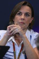 World © Octane Photographic Ltd. Thursday 22nd May 2014. Monaco - Monte Carlo - Formula 1 Press conference. Williams Martini Racing Deputy Team Principle - Claire Williams. Digital Ref: 0961LB1D4929