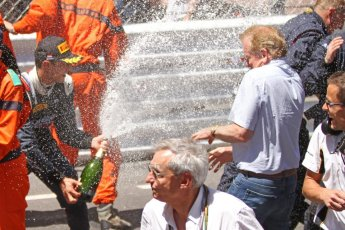 World © Octane Photographic Ltd. Friday 23rd May 2014. GP2 Feature Race – Monaco, Monte Carlo. Mitch Evans (2nd) sprays his champagne over Jonathan Palmer - RT Russian Time. Digital Ref : 0963CB7D3196