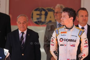 World © Octane Photographic Ltd. Friday 23rd May 2014. GP2 Feature Race – Monaco, Monte Carlo. Jolyon Palmer (1st) on the podium – DAMS. Digital Ref : 0963LB1D7314