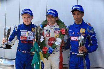 World © Octane Photographic Ltd. Protyre Formula Renault Championship. June 1st 2014.  Race 2 – Castle Donington. Pietro Fittipaldi (1st) and Tarun Reddy (3rd) – MGR Motorsport and Alex Gill - Fortec Motorsports (2nd). Digital Ref : 0975CB1D0883