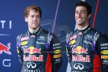 World © Octane Photographic Ltd. 2014 Formula 1 Winter Testing, Circuito de Velocidad, Jerez. Tuesday 27th January 2014. Day 1. Infiniti Red Bull Racing RB10 launch. Sebastian Vettel and Daniel Ricciardo. Digital Ref: 0885cb1d9272