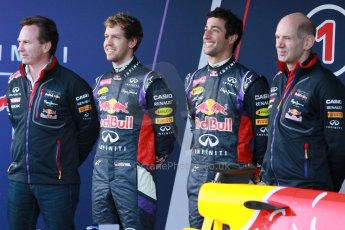 World © Octane Photographic Ltd. 2014 Formula 1 Winter Testing, Circuito de Velocidad, Jerez. Tuesday 27th January 2014. Day 1. Infiniti Red Bull Racing RB10 launch. Christian Horner, Sebastian Vettel, Daniel Ricciardo and Adrian Newey. Digital Ref: 0885cb1d9273