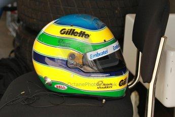 World © Octane Photographic Ltd. Senna Formula 1 car showcase filmed by Sky F1 at Donington Park race track. Tuesday 8th April 2014. Bruno Senna Race Helmet. Digital Ref : 0904lb1d0007