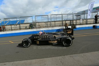 World © Octane Photographic Ltd. Senna Formula 1 car showcase filmed by Sky F1 at Donington Park race track. Tuesday 8th April 2014. Martin Brundle in the Lotus 98T. Digital Ref : 0904lb1d3978