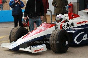 World © Octane Photographic Ltd. Senna Formula 1 car showcase filmed by Sky F1 at Donington Park race track. Tuesday 8th April 2014. Ex-Ayrton Senna Toleman TG184 - Alastair Davidson. Digital Ref : 0904lb1d9922