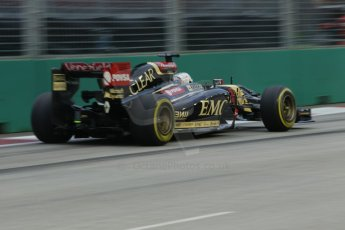 World © Octane Photographic Ltd. Friday 19th September 2014, Singapore Grand Prix, Marina Bay. - Formula 1 Practice 1. Lotus F1 Team E22 - Romain Grosjean. Digital Ref:
