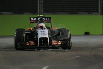 World © Octane Photographic Ltd. Friday 19th September 2014, Singapore Grand Prix, Marina Bay. - Formula 1 Practice 1. Sahara Force India VJM07 – Sergio Perez. Digital Ref:
