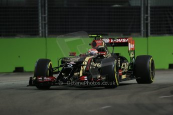 World © Octane Photographic Ltd. Friday 19th September 2014, Singapore Grand Prix, Marina Bay. - Formula 1 Practice 1. Lotus F1 Team E22 – Pastor Maldonado. Digital Ref: