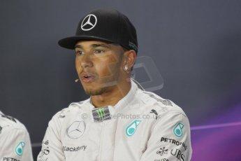 World © Octane Photographic Ltd. Saturday 20th September 2014, Singapore Grand Prix, Marina Bay. - Formula 1 Qualifying Press Conference. Mercedes AMG Petronas F1 W05 – Lewis Hamilton. Digital Ref: 1125CB1D9869