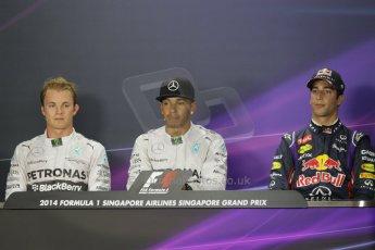 World © Octane Photographic Ltd. Saturday 20th September 2014, Singapore Grand Prix, Marina Bay. - Formula 1 Qualifying Press Conference. Mercedes AMG Petronas F1 W05 – Lewis Hamilton (pole) and Nico Rosberg (2nd) and in 3rd Infiniti Red Bull Racing RB10 – Daniel Ricciardo. Digital Ref: 1125CB1D9872