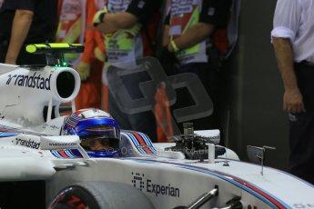 World © Octane Photographic Ltd. Saturday 20th September 2014, Singapore Grand Prix, Marina Bay. - Formula 1 Qualifying Parc Ferme. Williams Martini Racing FW36 – Valtteri Bottas. Digital Ref: 1125LB1D2877