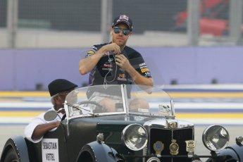 World © Octane Photographic Ltd. Saturday 20th September 2014, Singapore Grand Prix, Marina Bay. Formula 1 Drivers' Parade. Infiniti Red Bull Racing RB10 - Sebastian Vettel. Digital Ref: 1127CB1D0851
