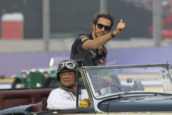 World © Octane Photographic Ltd. Saturday 20th September 2014, Singapore Grand Prix, Marina Bay. - Formula 1 Drivers' Parade. Scuderia Toro Rosso STR9 - Jean-Eric Vergne. Digital Ref: 1127CB1D0906