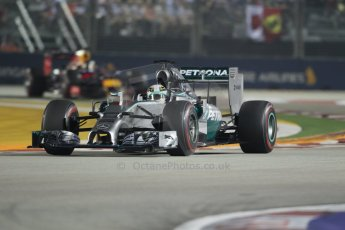 World © Octane Photographic Ltd. Sunday 21st September 2014, Singapore Grand Prix, Marina Bay. - Formula 1 Race. Mercedes AMG Petronas F1 W05 – Lewis Hamilton and Infiniti Red Bull Racing RB10 - Sebastian Vettel. Digital Ref: